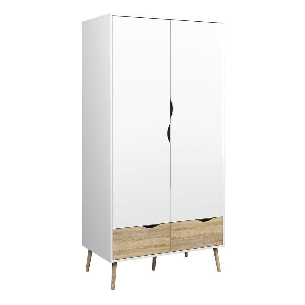 Freja Wardrobe 2 Doors 2 Drawers in White and Oak